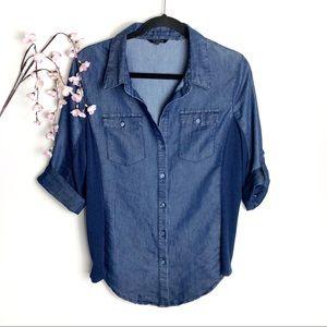 Ci Sono Blue Denim 3/4 Sleeve Button-Down Shirt